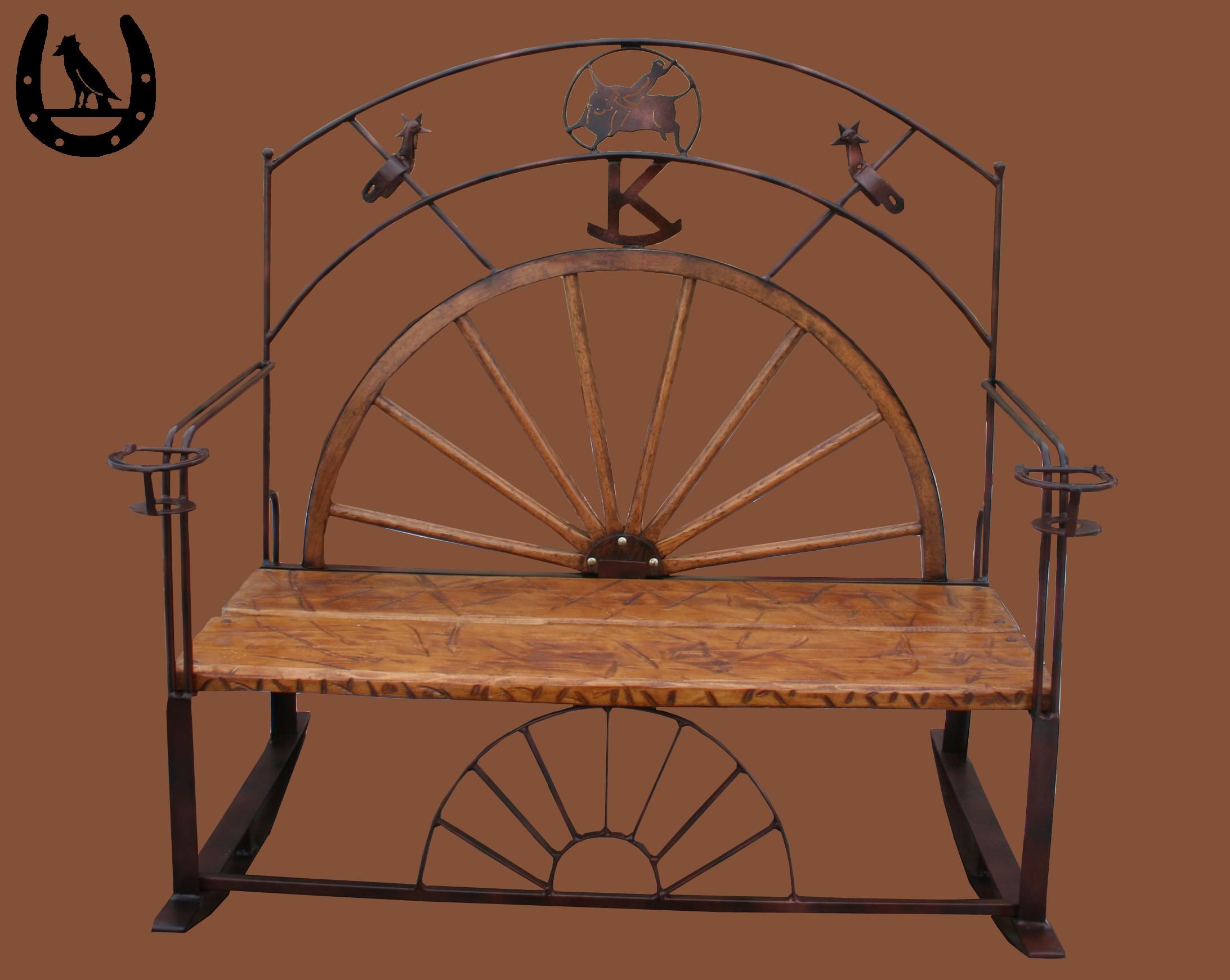 wagon wheel chair large reading crow 39s western furniture  handmade