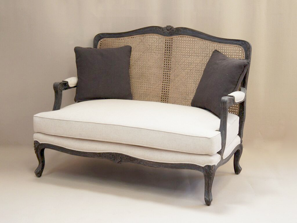 Sofa Chair Louis French 2 Seater Sofa With Rattan Back French Style