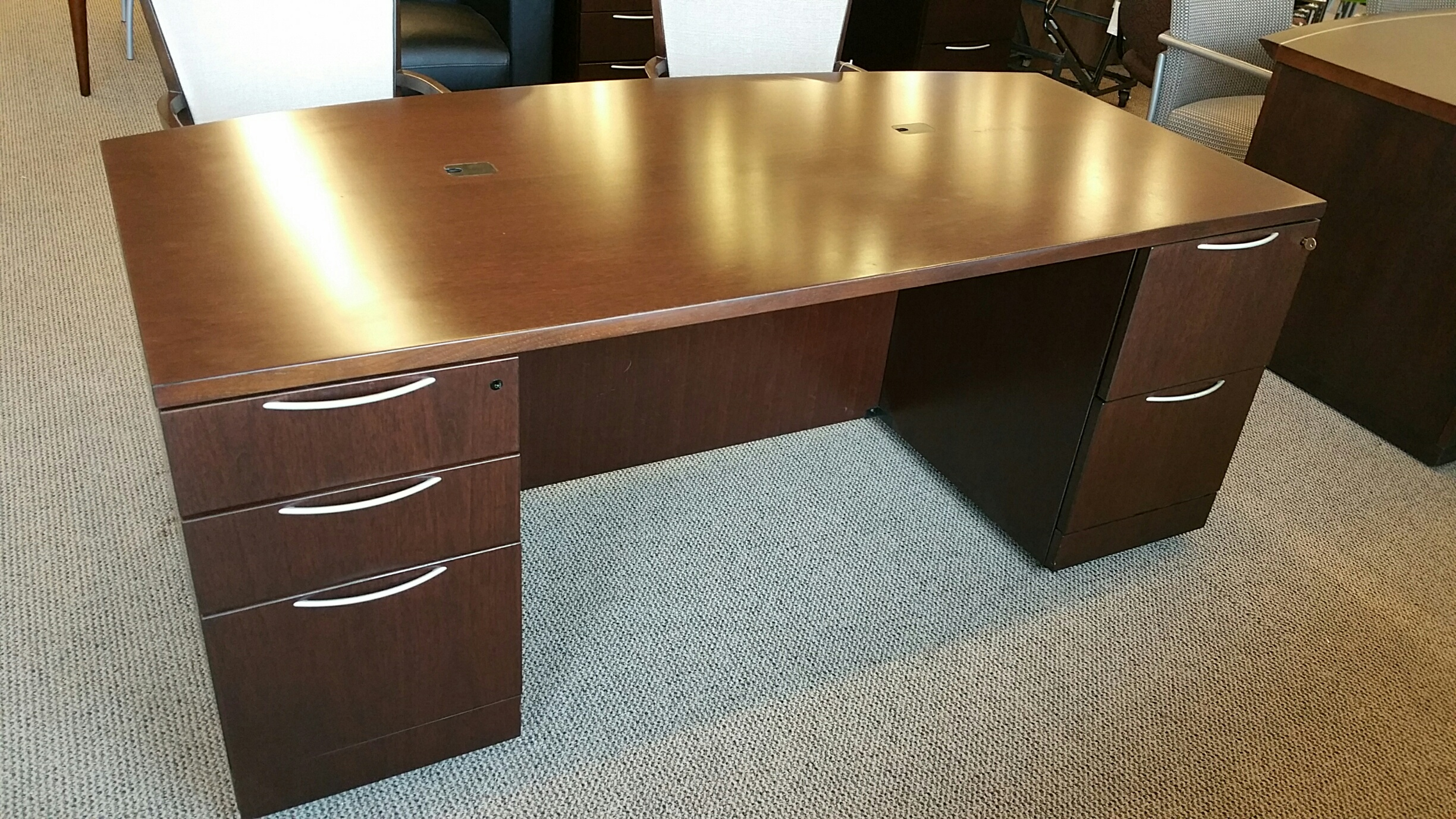 steelcase reply chair review folding jute pre owned knoll reff desk and credenza set - crown office furniture | tulsa oklahoma