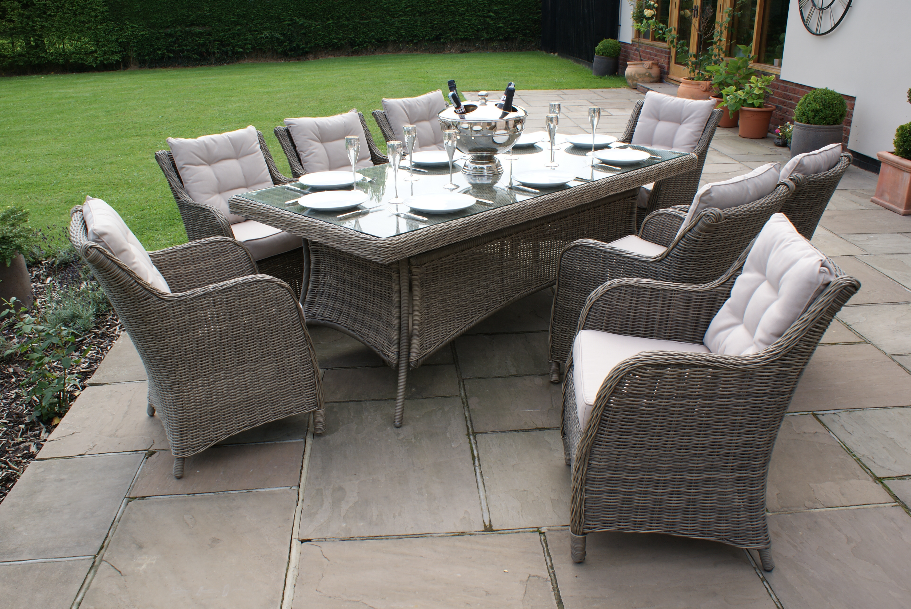 Garden Table And Chairs Winchester 8 Seat Rectangle Dining Set With Square Chairs