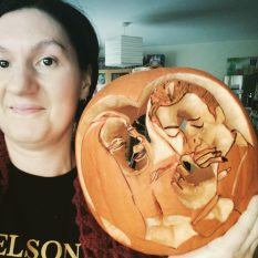 Me, showing the size of the pumpkin.