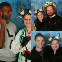 """Photo ops with Demore Barnes in my """"Sassy Science"""" Cosplay, and with Bryan & Hugh in my Ravenstag Cosplay."""