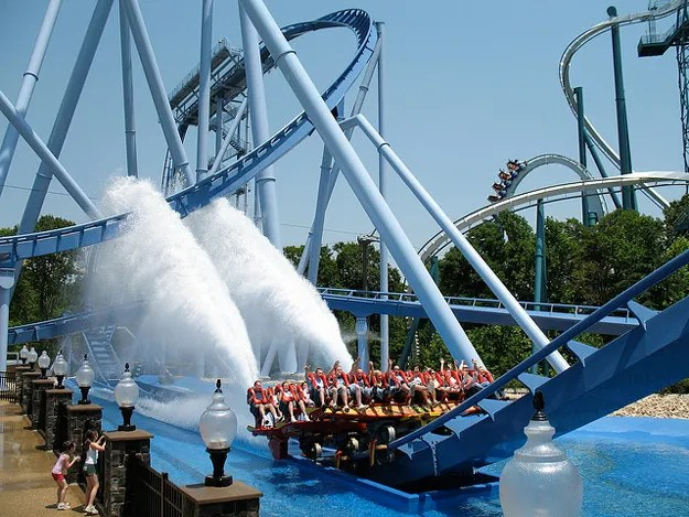 Busch Gardens, Williamsburg. The park is themed to Old World European countries, with pirate-style rides, a diving hyper coaster, water flumes and animal exhibits.