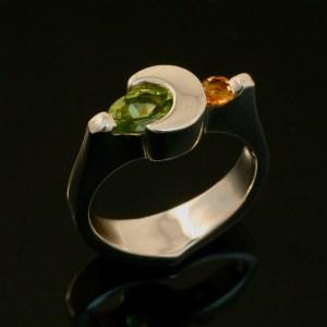 Crescent Moon Ring - Peridot and Citrine