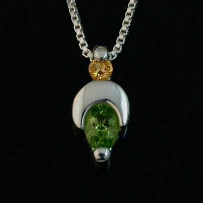 Crescent Moon sterling silver pendant - Peridot and Citrine