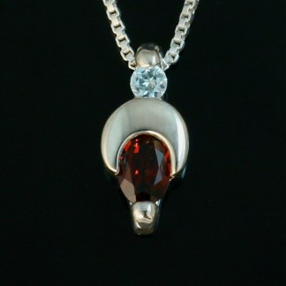 Crescent Moon sterling silver pendant - Garnet and Blue Topaz