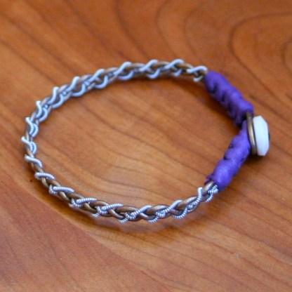 Mini Pewter Thread Bracelet (purple ends)