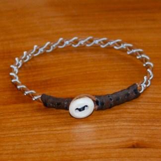 Mini Pewter Thread Bracelets (brown ends)