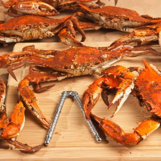Steamed premium Large male blue crabs
