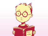 boy with glasses reading book