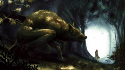 Werewolf stalking girl in forest