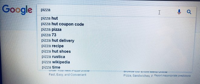 SERP results for pizza blogging