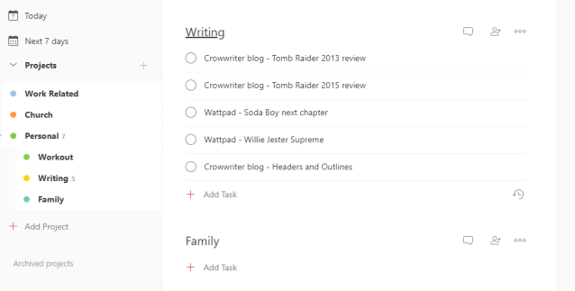 Todoist example writing personal management