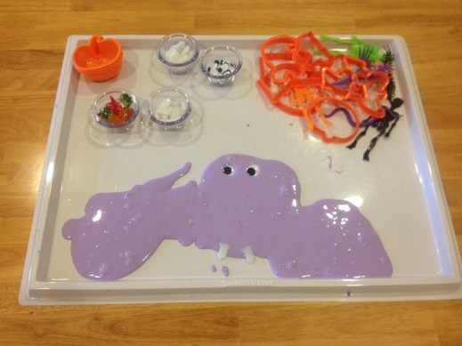 Gak is another fun sensory experience that the children love. This is our Halloween themed gak tray.