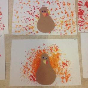 sponge painted turkeys