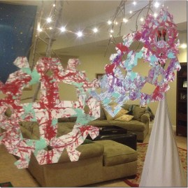 marble painted snowflakes