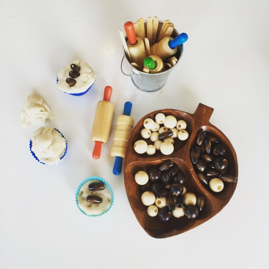 natural play dough and wooden beads