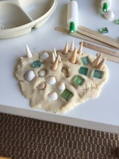 coconut scented play dough and seashells