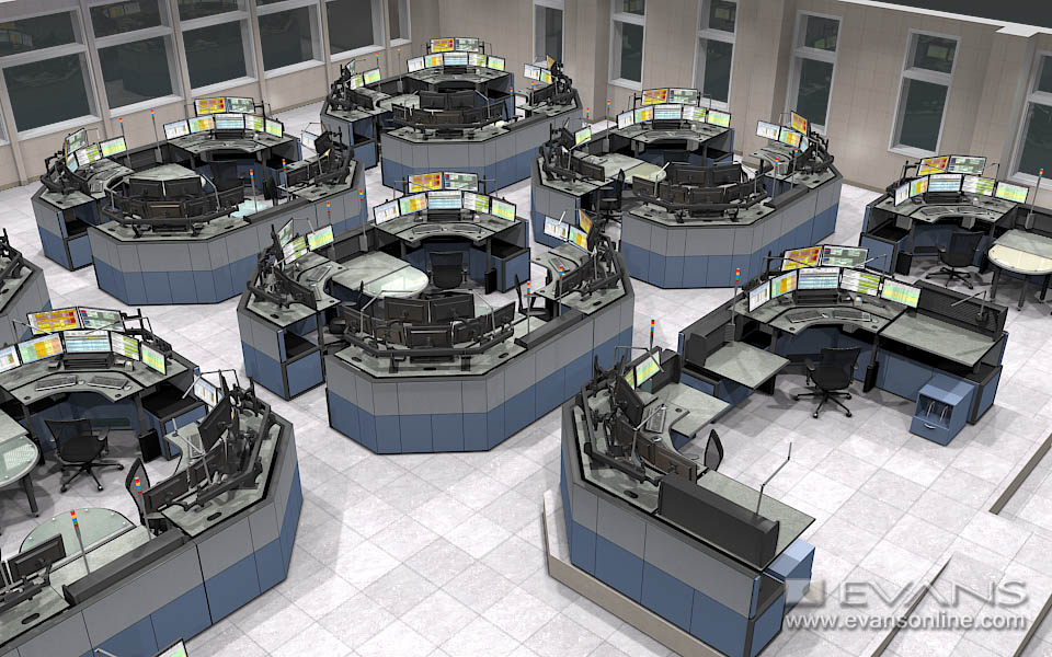 Evans Consoles in mission-critical control room