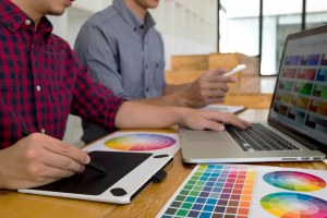 Graphic Designers Present Colors From The Color Palette To Their