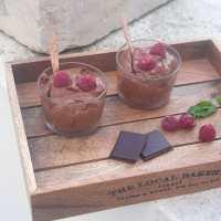 Receita. Mousse de chocolate e framboesa.