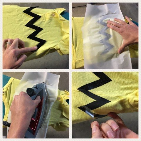 Ironing on zig-zags to make Charlie Brown's shirt