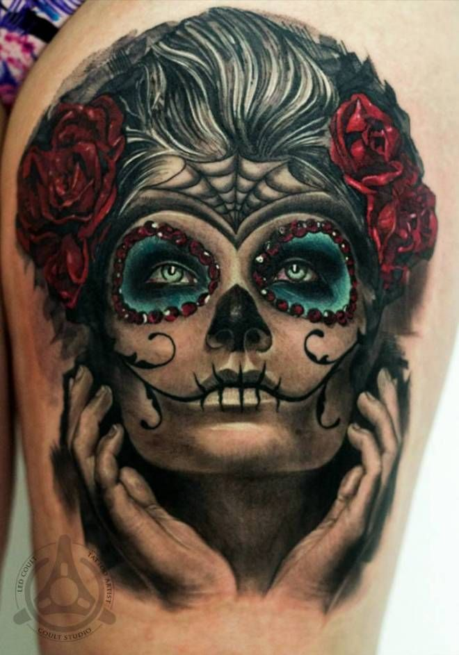 Mexican Skull Girl Tattoo