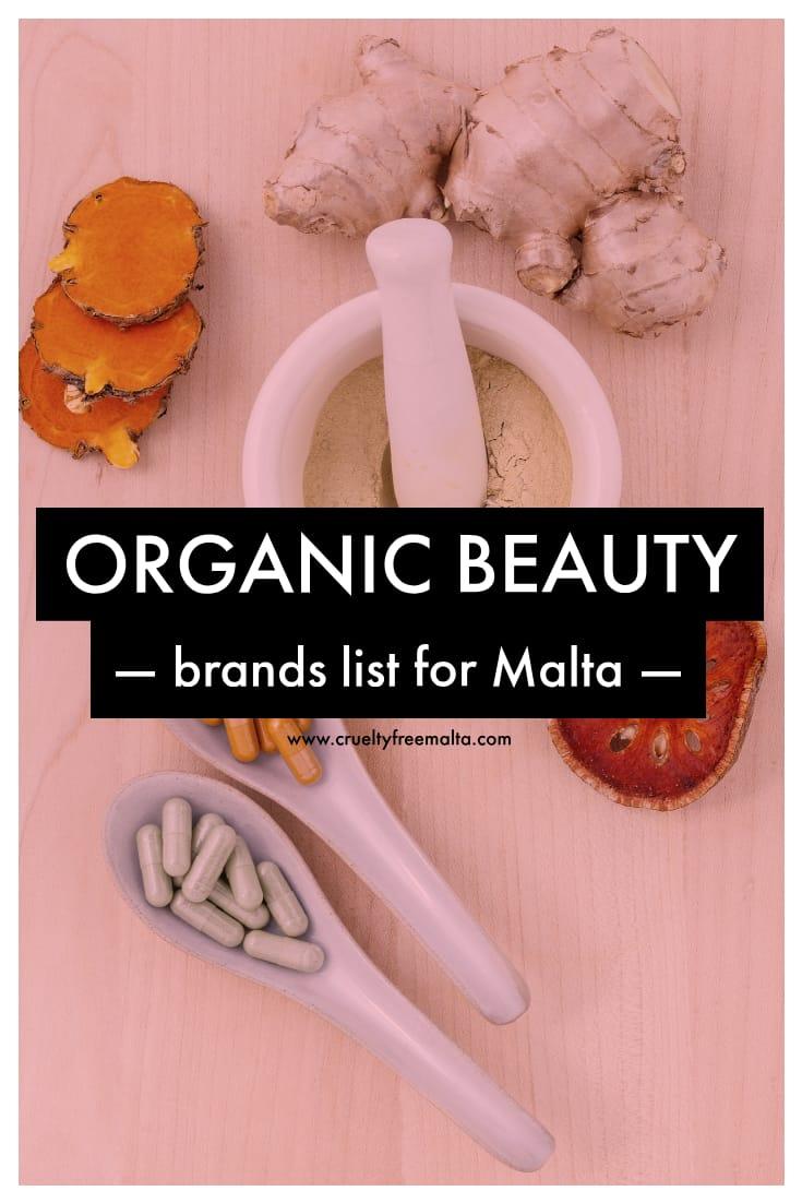 Organic beauty brands list for Malta