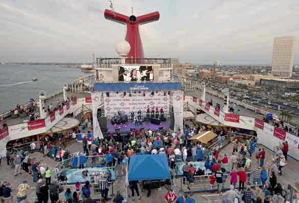 Carnival Freedom with first ever Carnival Live stage setup on deck.