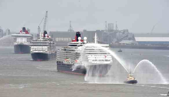 The Three Queens arrive in Liverpool  to celebrate the 175th anniversary of Cunard