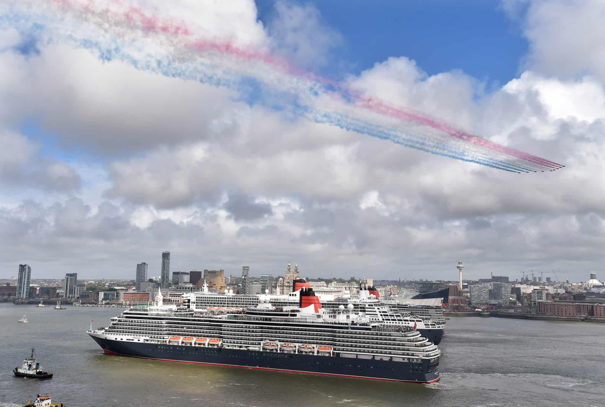 Queen Elizabeth, Queen Victoria and Queen Mary in the river Mersey to celebrate the 175th anniversary of Cunard
