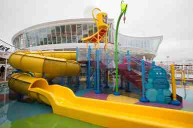 Royal Caribbean International's Harmony of the Seas, the world's largest and newest cruise ship, previews in Southampton, UK. Kids water zone.