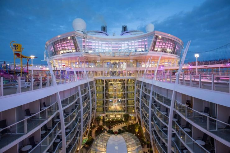 """Royal Caribbean International's Harmony of the Seas, the world""""s largest and newest cruise ship, previews in Southampton. General view to Central Park"""