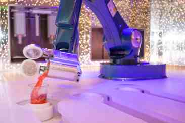 "Royal Caribbean International's Harmony of the Seas, the world""s largest and newest cruise ship, previews in Southampton. Bionic Bar powered by Makr Shakr"