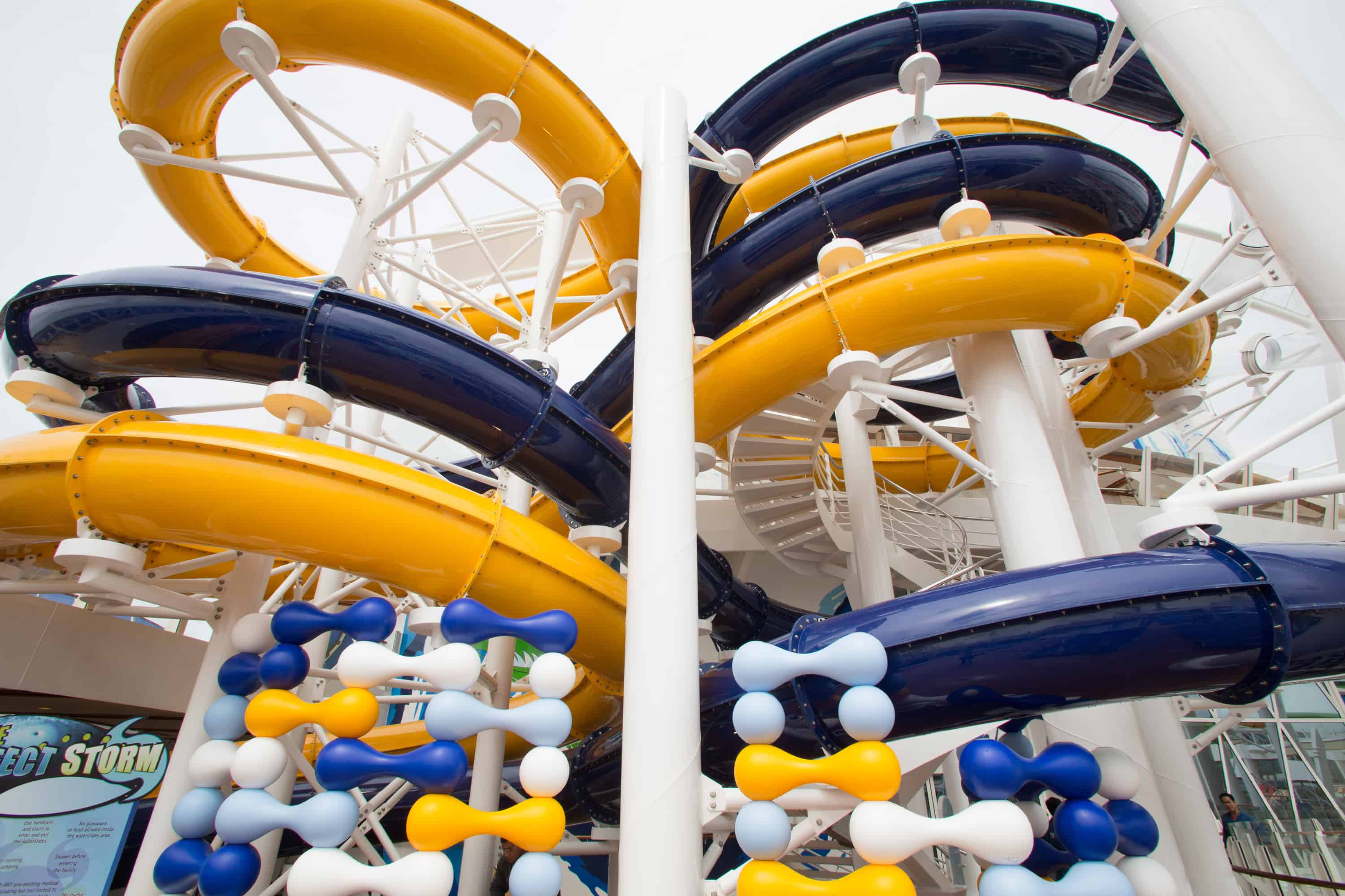 Royal Caribbean International's Harmony of the Seas, the world's largest and newest cruise ship, previews in Southampton, UK. The Perfect Storm water slide.