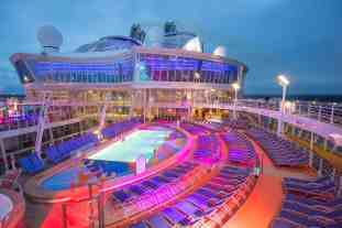 "Royal Caribbean International's Harmony of the Seas, the world""s largest and newest cruise ship, previews in Southampton. Pool Deck"