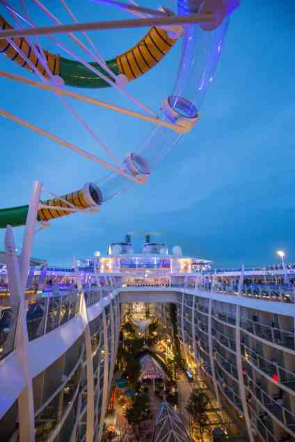 "Royal Caribbean International's Harmony of the Seas, the world""s largest and newest cruise ship, previews in Southampton. The Perfect storm and Central Park"