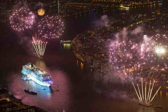 """Viking Cruises christens its second of six planned ocean ships in Greenwich"" in London, Britain May 5, 2016"