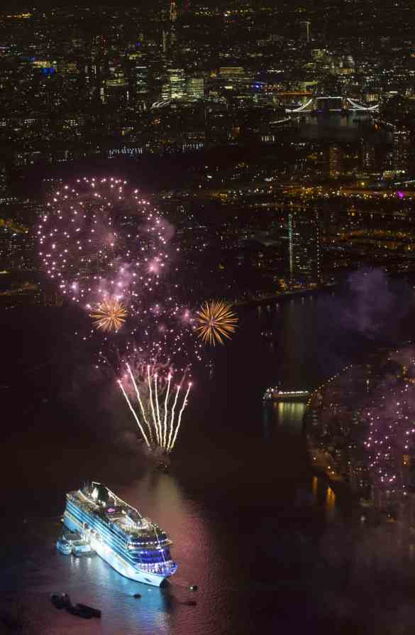 Viking Cruises christened its second of six planned ocean ships in Greenwich, London this evening withfireworks depicting the colours of the two main runners in the Mayoral elections.