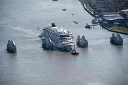 Pic Shows The Viking Sea arriving into London via the River Thames as it prepares to be christened