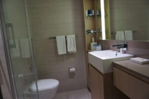 Bathrooms are spacious with heated floors, a large shower and easy use fixtures and items.