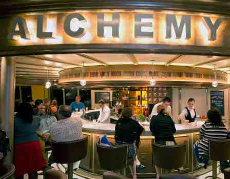 At the Carnival SunshineÕs cocktail pharmacy-themed Alchemy Bar, mixologists prepare custom-designed cocktails using herbs, spices and other interesting ingredients. (Andy Newman/Carnival Cruise Lines)