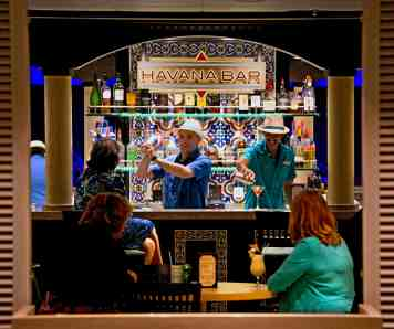 New to Carnival Sunshine is the Havana Bar, which pays homage to CubaÕs storied past featuring dramatic interiors and serving traditional Cuban cocktails and snacks. (Andy Newman/Carnival Cruise Lines)