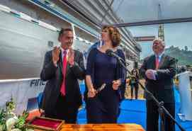 Fincantieri Director Giovanni Stecconi, Godmother Sissel Kyrkjebø, and Viking Chairman Torstein Hagen at the Viking Jupiter Float Out Ceremony at the Fincantieri Shipyard, Ancona, Italy.