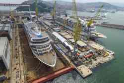 Viking Jupiter in dry dock and the Viking Orion at berth during the Float Out Ceremony at the Fincantieri Shipyard, Ancona, Italy.