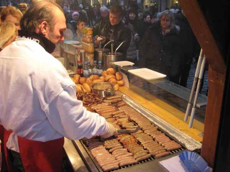 Sausage vendor at Nuremberg Christmas Market