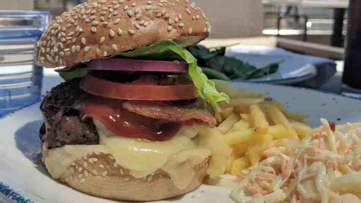 The Viking Burger from the Pool Grill on Viking Ocean Cruises' Viking Orion