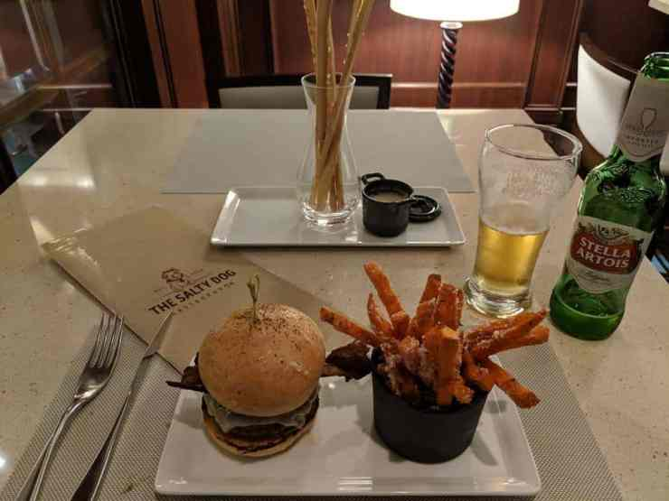 The Ernesto burger at Salty Dog Gastropub on Crown Princess