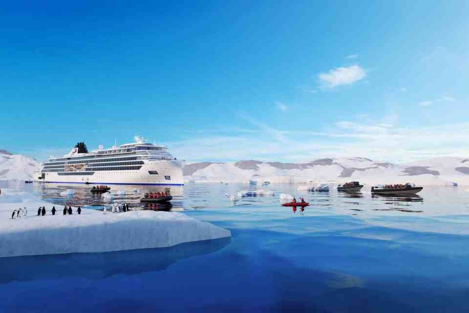 Rendering of the Viking Expedition Ship in Antarctica. (Credit: Viking)