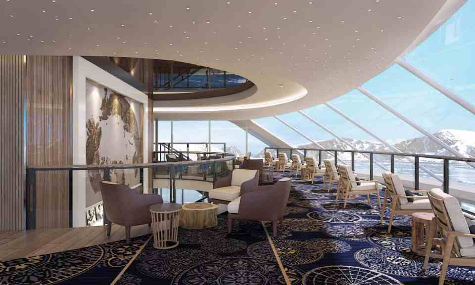 Rendering of the Viking Expedition  ship: Deck 5 Explorers' Lounge Upper Deck (Credit: Viking)